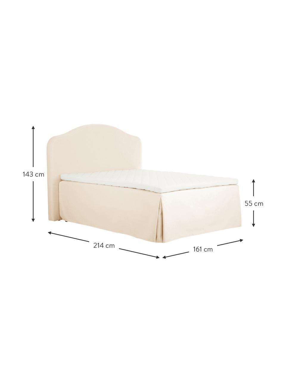 Premium Boxspringbett Dahlia in Cremeweiß, Matratze: 5-Zonen-Taschenfederkern , Füße: Massives Birkenholz, lack, Cremeweiß, 140 x 200 cm