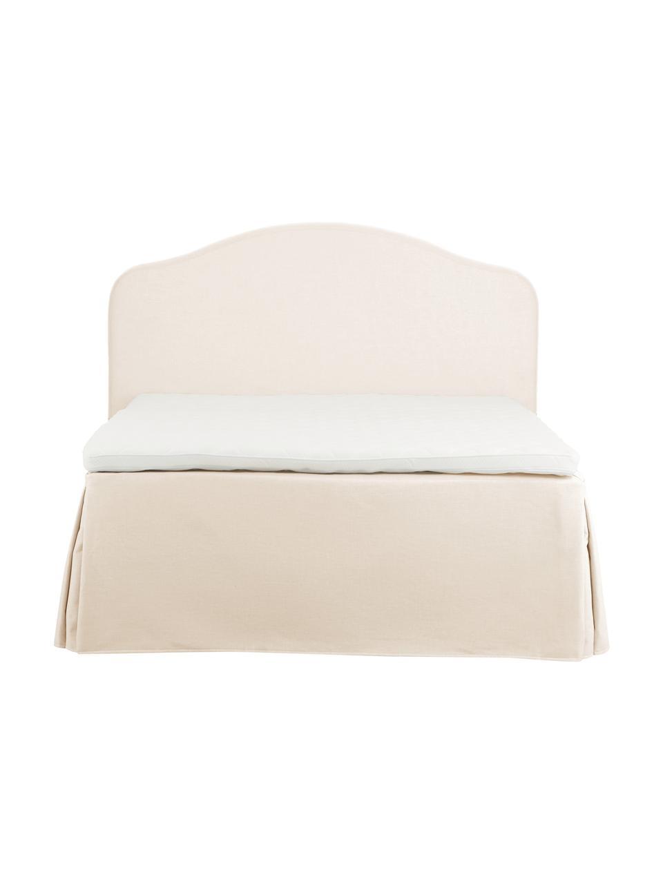 Letto boxspring premium in tessuto bianco crema Dahlia, Materasso: nucleo a 5 zone di molle , Piedini: legno massiccio di betull, Bianco crema, 140 x 200 cm