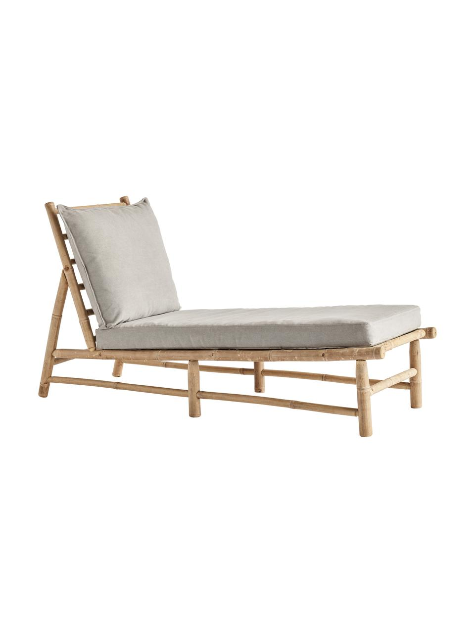 Leżak ogrodowy z drewna bambusowego Bamslow, Stelaż: drewno bambusowe, Tapicerka: 100% bawełna, Szary, brązowy, S 150 x G 55 cm