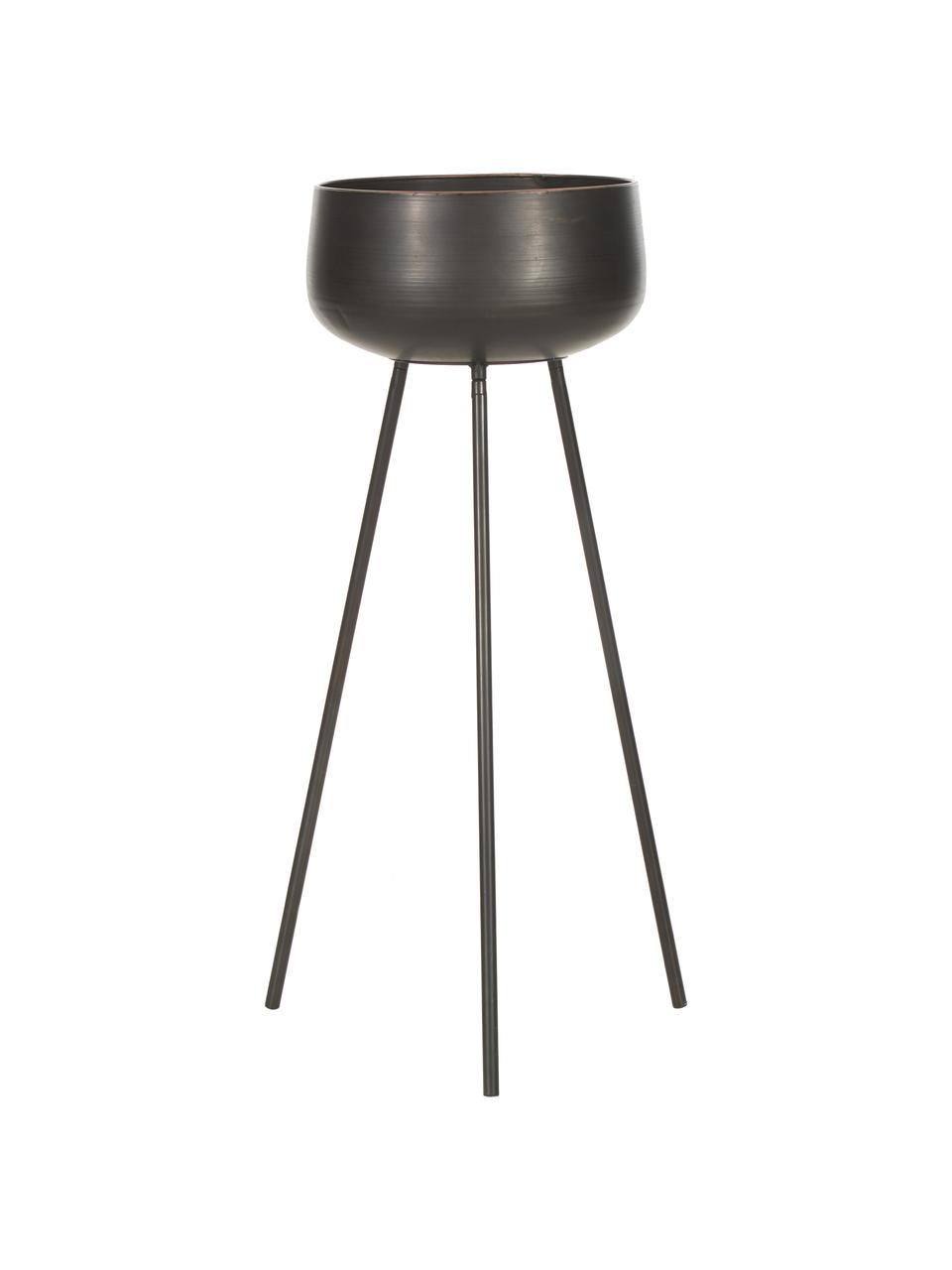 Übertopf-Set Chimp aus Metall, 2-tlg., Metall, beschichtet, Schwarz, Sondergrößen