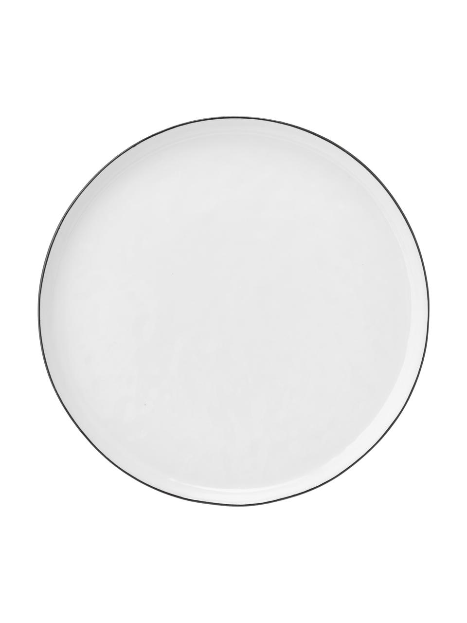 Ręcznie wykonany talerz śniadaniowy Salt, 4 szt., Porcelana, Złamana biel, czarny, Ø 22 cm