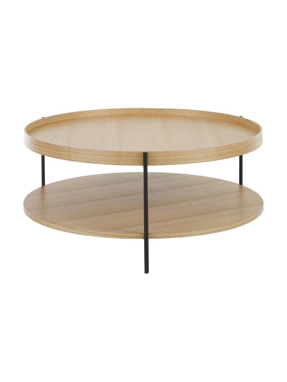 Duży stolik kawowy z półką Renee, Blat: płyta pilśniowa średniej , Stelaż: metal malowany proszkowo, Blaty: drewno dębowe Stelaż: czarny, matowy, Ø 90 x W 39 cm