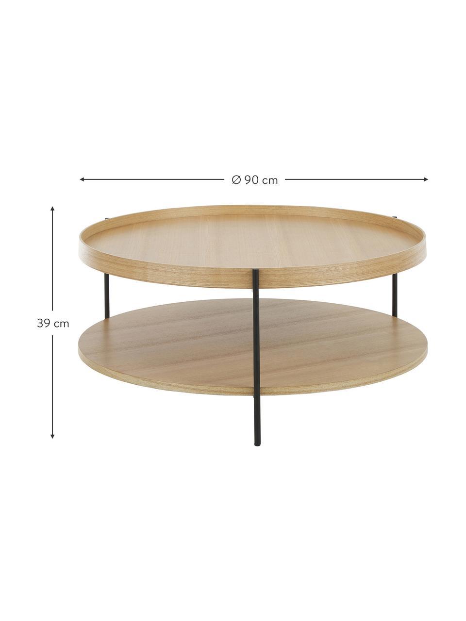 Grote salontafel Renee met opbergvak, Frame: gepoedercoat metaal, Tafelbladen: eikenhoutkleurig. Frame: mat zwart, Ø 90 x H 39 cm