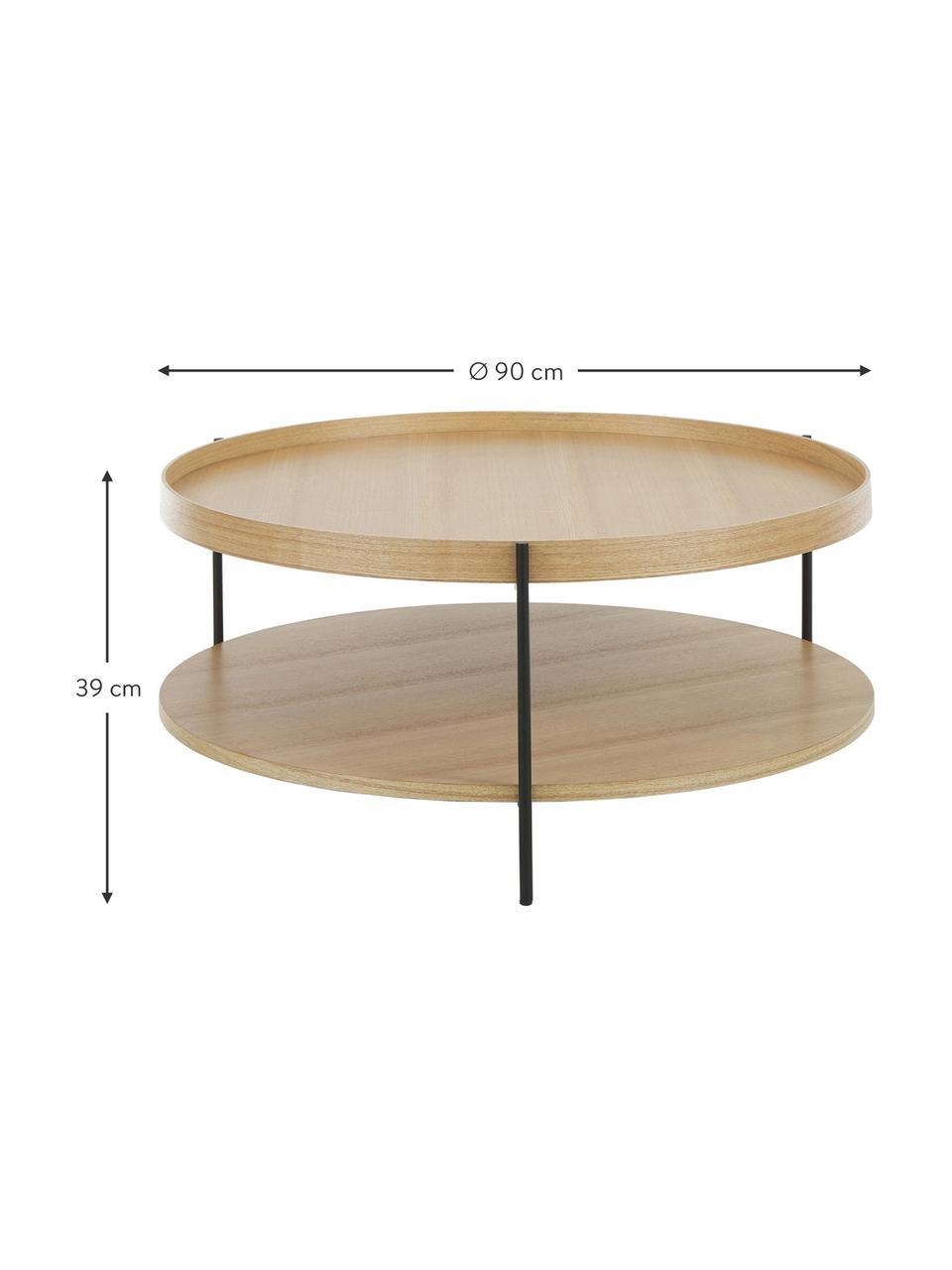 Tavolino da salotto con piano d'appoggio Renee, Ripiani: pannello di fibra a media, Struttura: metallo verniciato a polv, Legno di frassino, Ø 90 x Alt. 39 cm