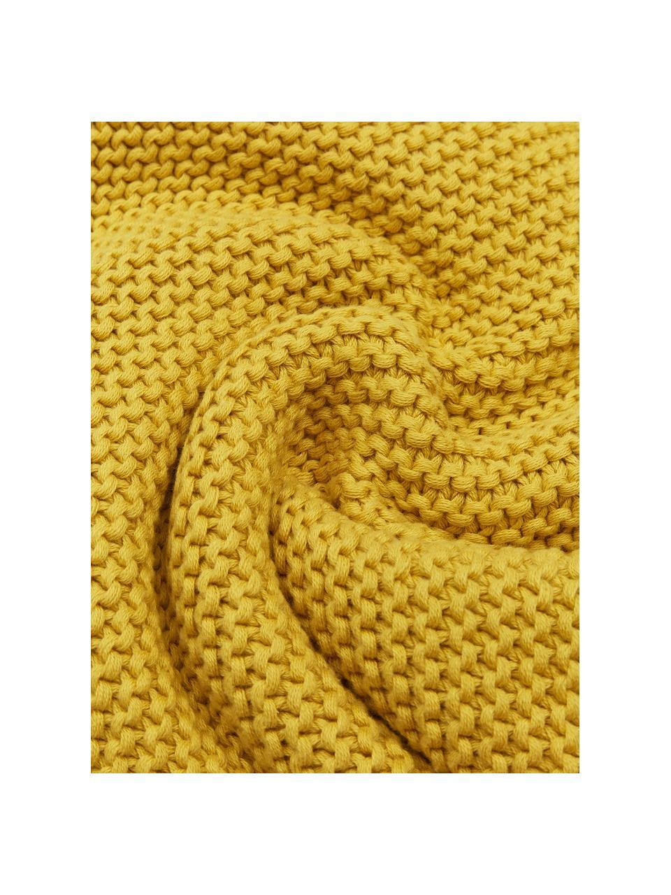Dzianinowy koc z bawełny organicznej  Adalyn, 100% bawełna organiczna, certyfikat GOTS, Żółty, S 150 x D 200 cm