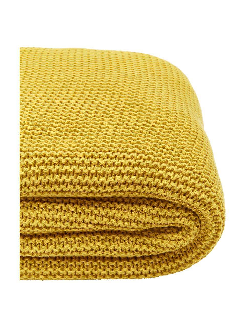 Plaid fatto a maglia in cotone biologico color giallo senape Adalyn, 100% cotone biologico, certificato GOTS, Giallo, Larg. 150 x Lung. 200 cm