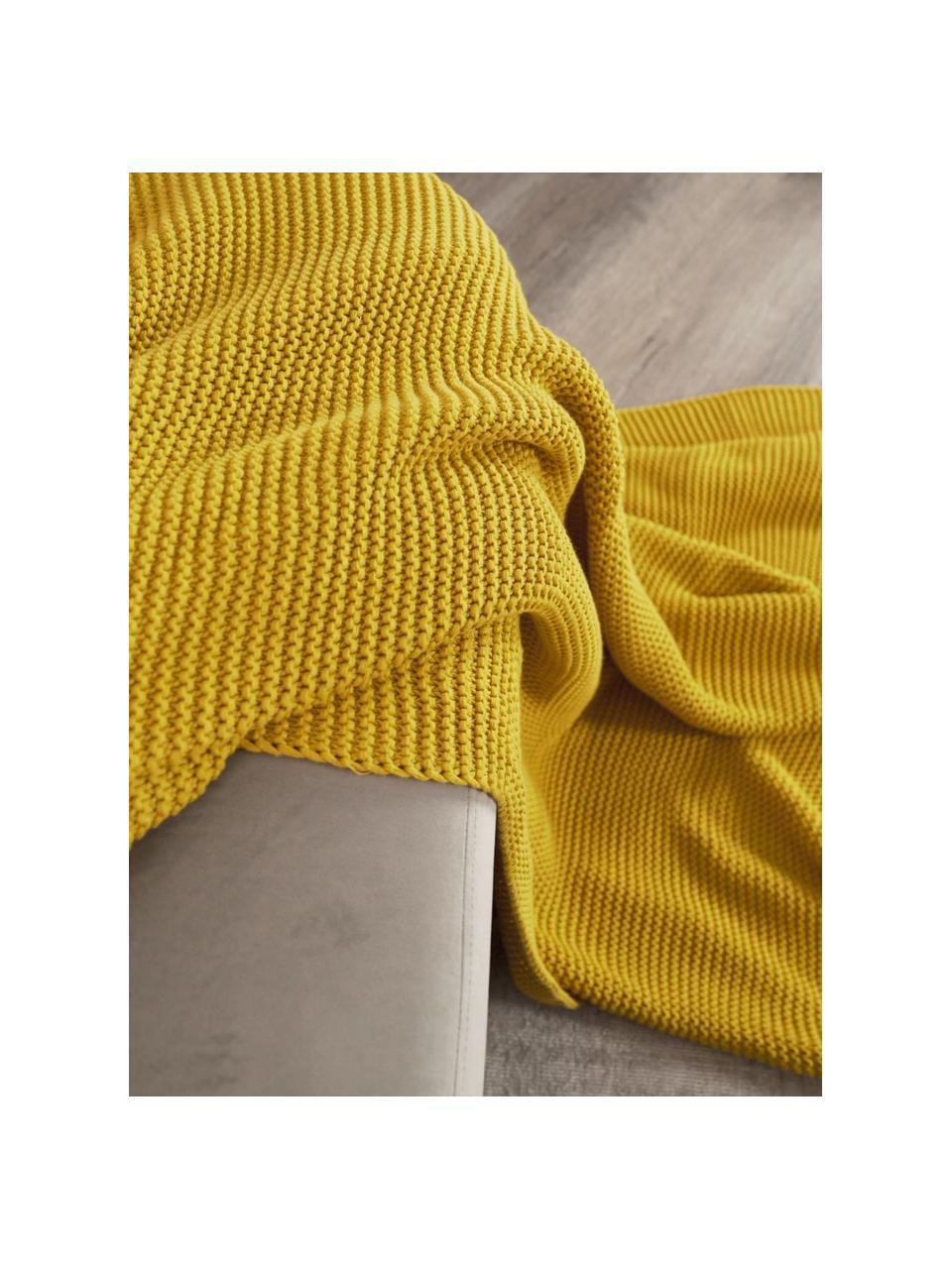 Strickdecke Adalyn aus Bio-Baumwolle in Senfgelb, 100% Bio-Baumwolle, GOTS-zertifiziert, Senfgelb, 150 x 200 cm
