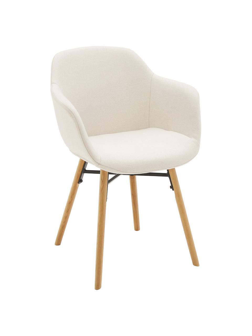 Sedia con braccioli con gambe in legno Fiji, Rivestimento: poliestere Con 40.000 cic, Gambe: legno di quercia massicci, Tessuto beige, legno di quercia, Larg. 59 x Prof. 55 cm