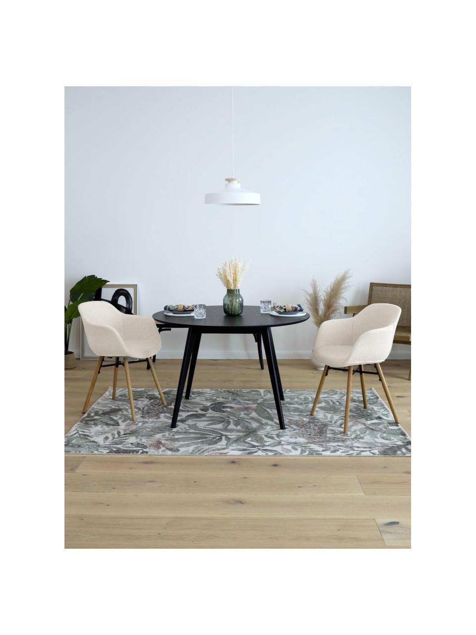 Sedia con braccioli con gambe in legno Fiji, Rivestimento: poliestere Il rivestiment, Gambe: legno di quercia massicci, Tessuto beige, legno di quercia, Larg. 59 x Prof. 55 cm