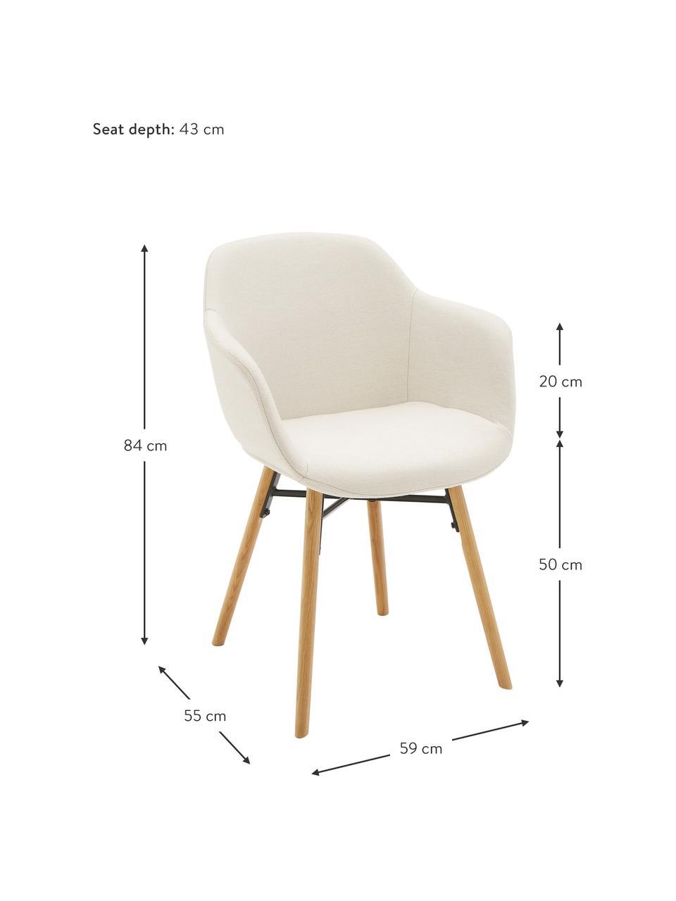 Krzesło z podłokietnikami z drewnianymi nogami Fiji, Tapicerka: poliester Dzięki tkaninie, Nogi: lite drewno dębowe, Siedzisko: kremowobiały Nogi: drewno dębowe, S 59 x G 55 cm