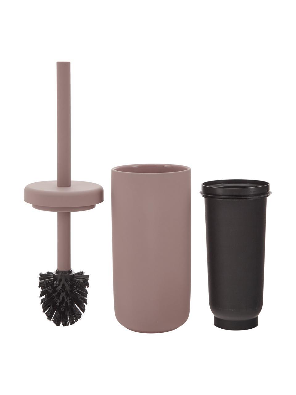Szczotka toaletowa z pojemnikiem z kamionki Omega, Brudny różowy, matowy, Ø 10 x W 39 cm
