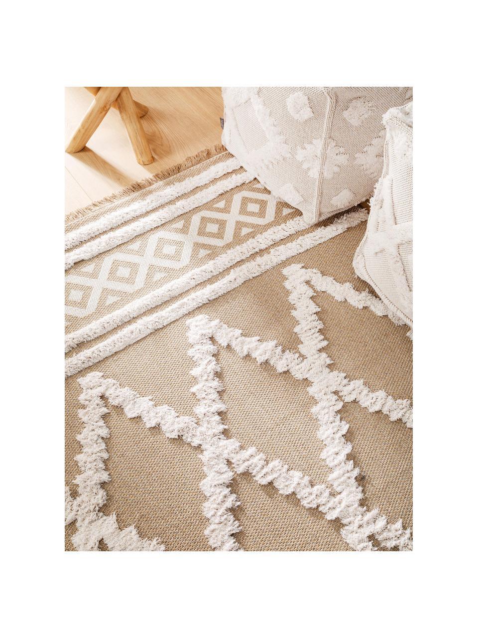 Tappeto in cotone lavato con motivo a rilievo e frange Oslo Karo, 100% cotone, Taupe, bianco crema, Larg. 75 x Lung. 150 cm (taglia XS)
