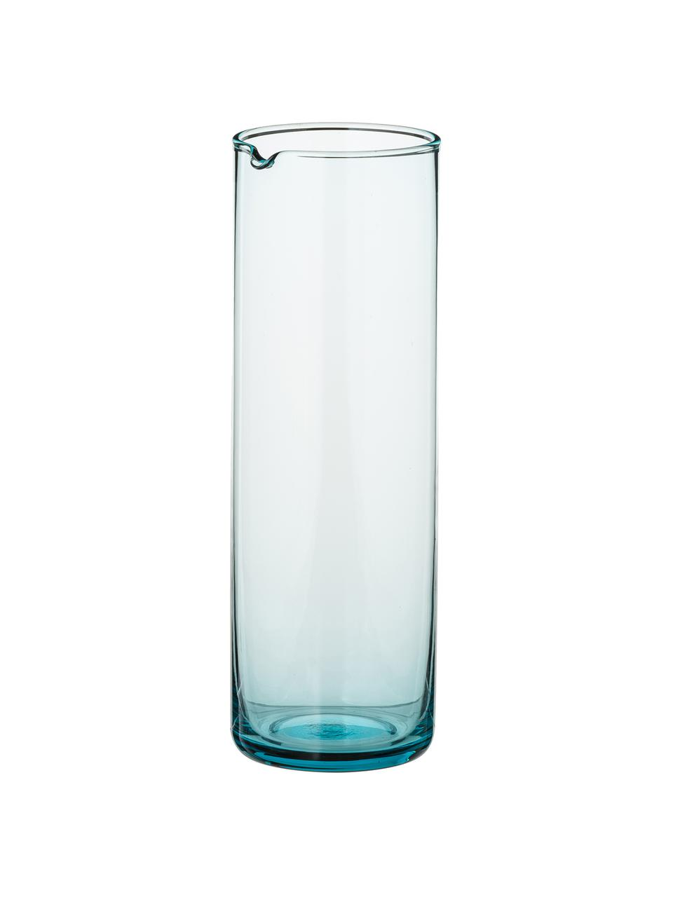 Glaskaraffe Bloom in Türkis, 1 L, Glas, Türkis, H 24 cm