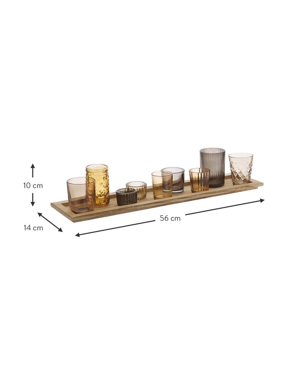 Komplet świeczników Wessel, 10 elem., Odcienie brązowego, S 56 x W 10 cm