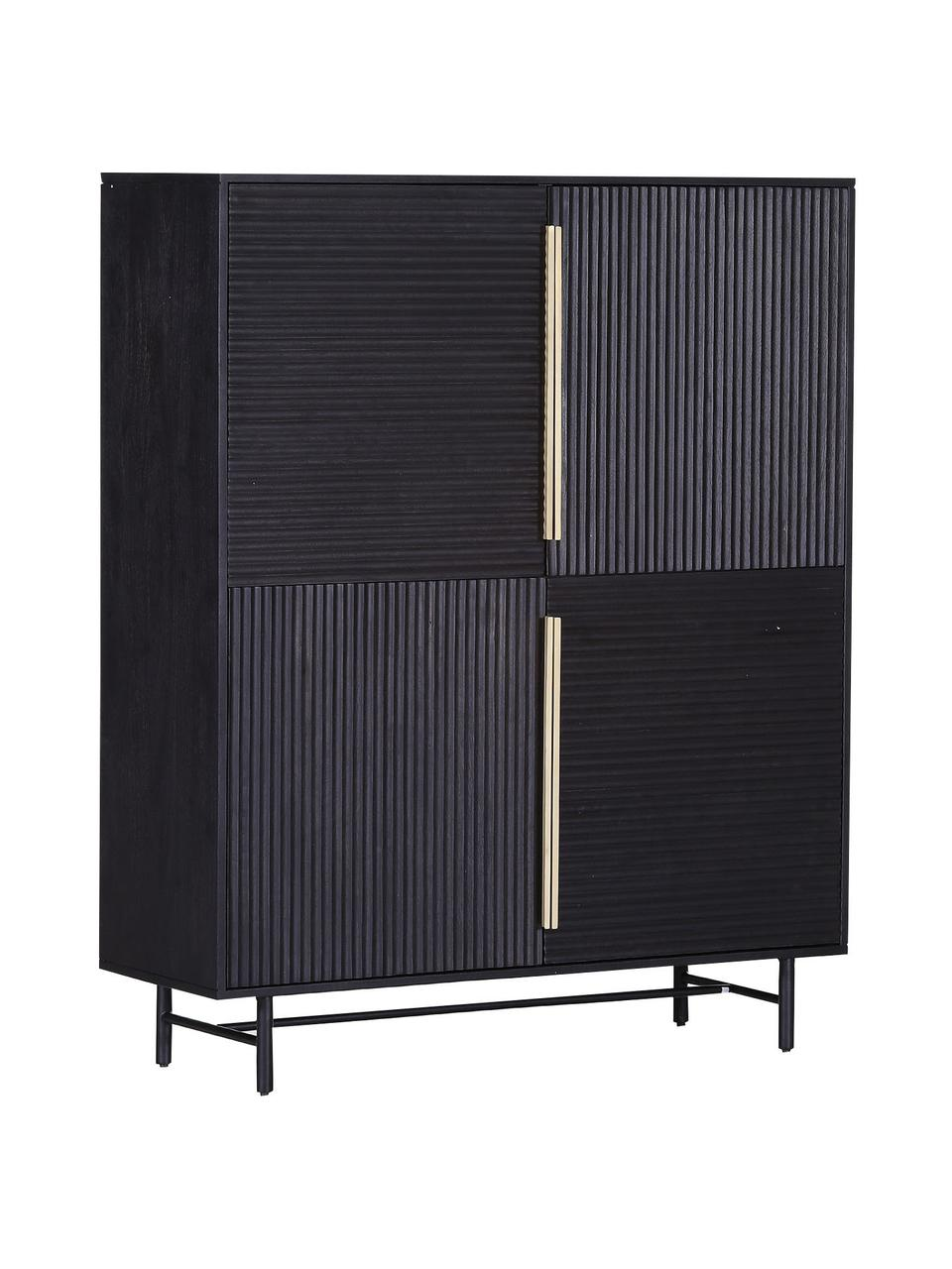 Akazienholz-Highboard Mamba mit geriffelter Front, Korpus: Akazienholz, lackiert, Beine: Metall, lackiert, schwarz, 115 x 140 cm