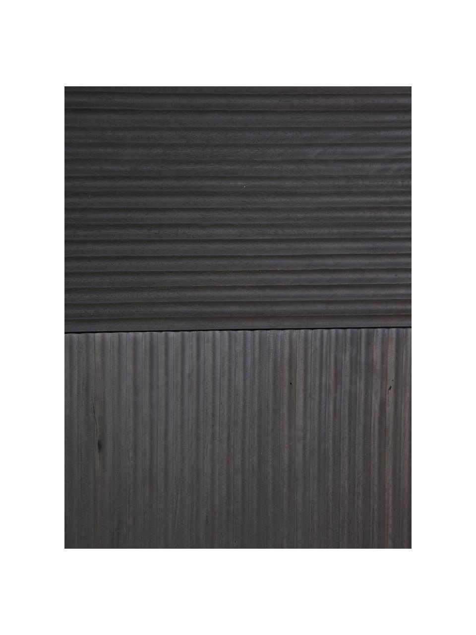 Acaciahouten dressoir Mamba met groeven decoratie, Frame: gelakt acaciahout, Poten: gelakt metaal, Zwart, 115 x 140 cm