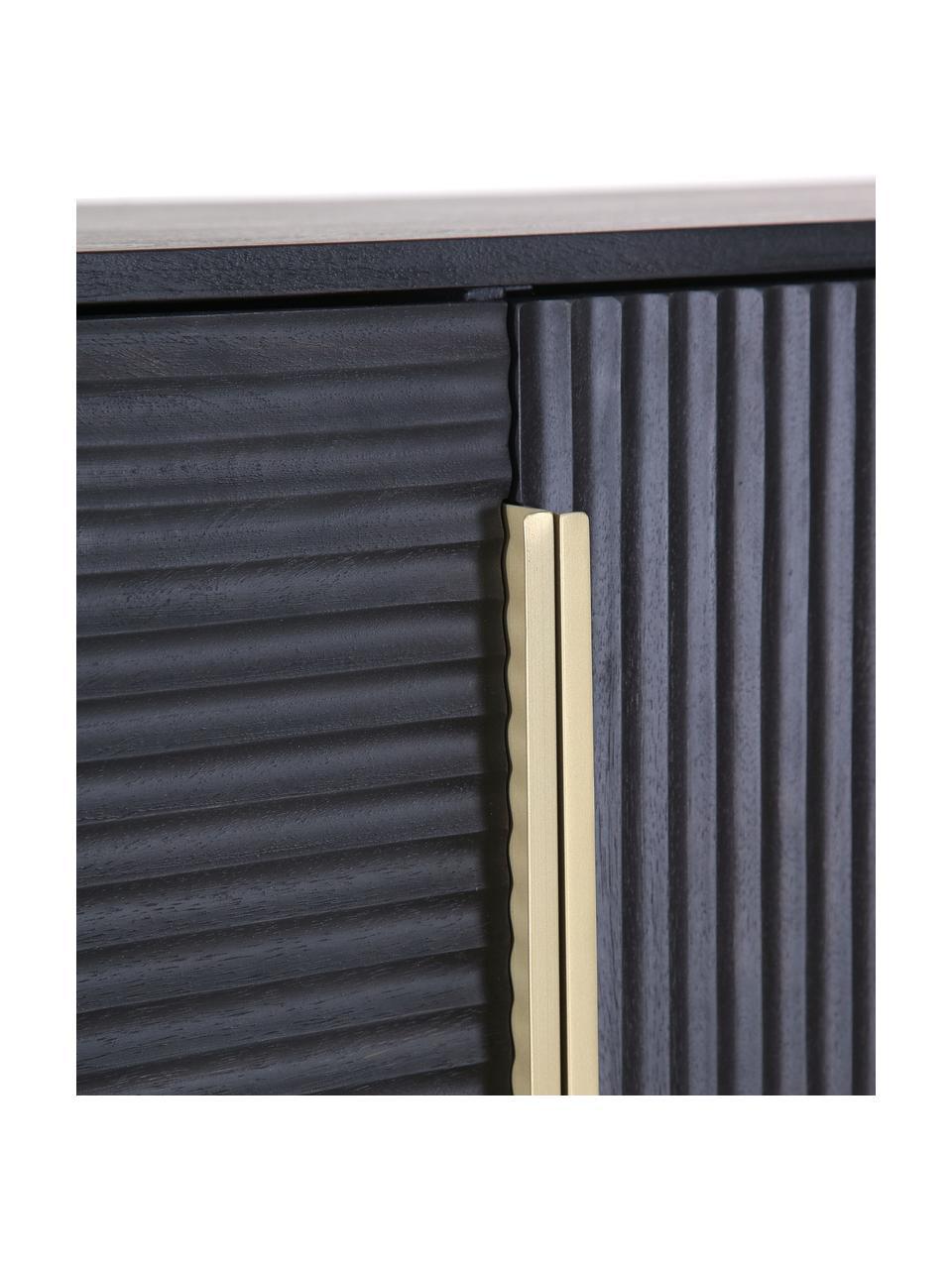 Wysoka komoda z drewna akacjowego z ryflowanym frontem Mamba, Korpus: drewno akacjowe lakierowa, Nogi: metal lakierowany, Czarny, S 115 x W 140 cm