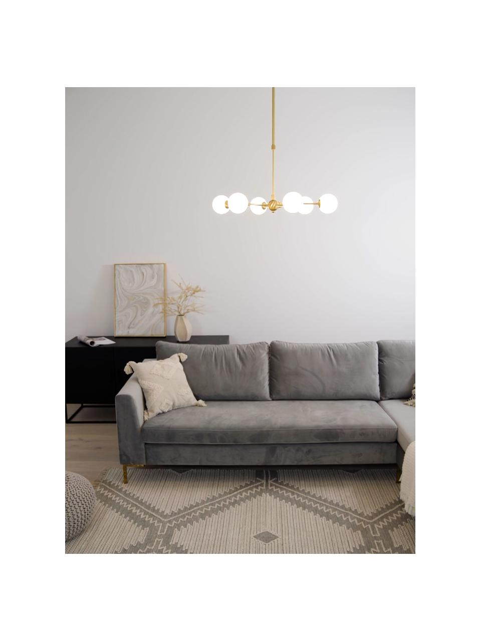 Okrągła lampa wisząca Aurelia, Biały, mosiądz, Ø 61 x W 78 cm