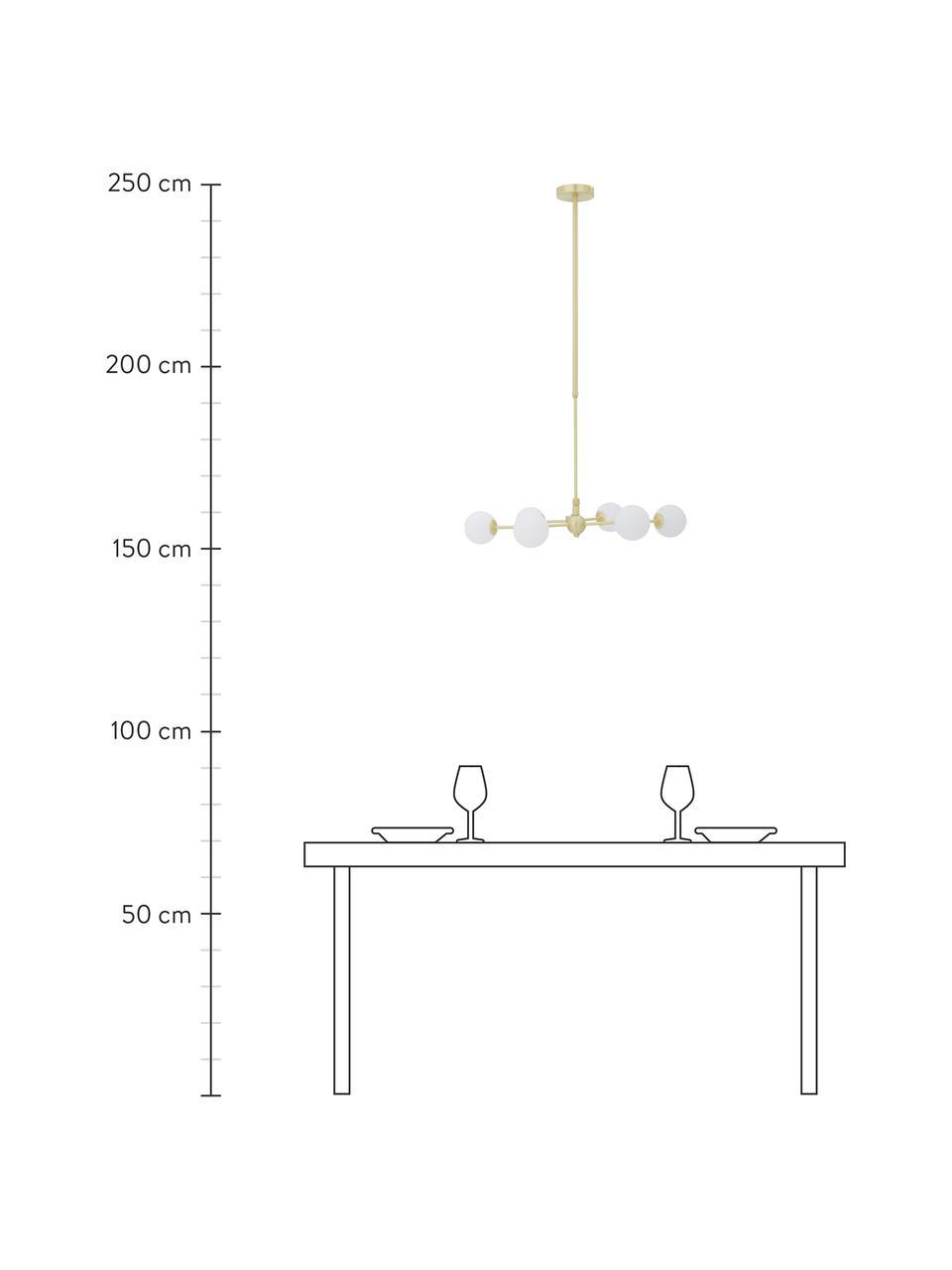 Große Runde Pendelleuchte Aurelia, Baldachin: Metall, vermessingt, Weiß, Messing, Ø 61 x H 78 cm
