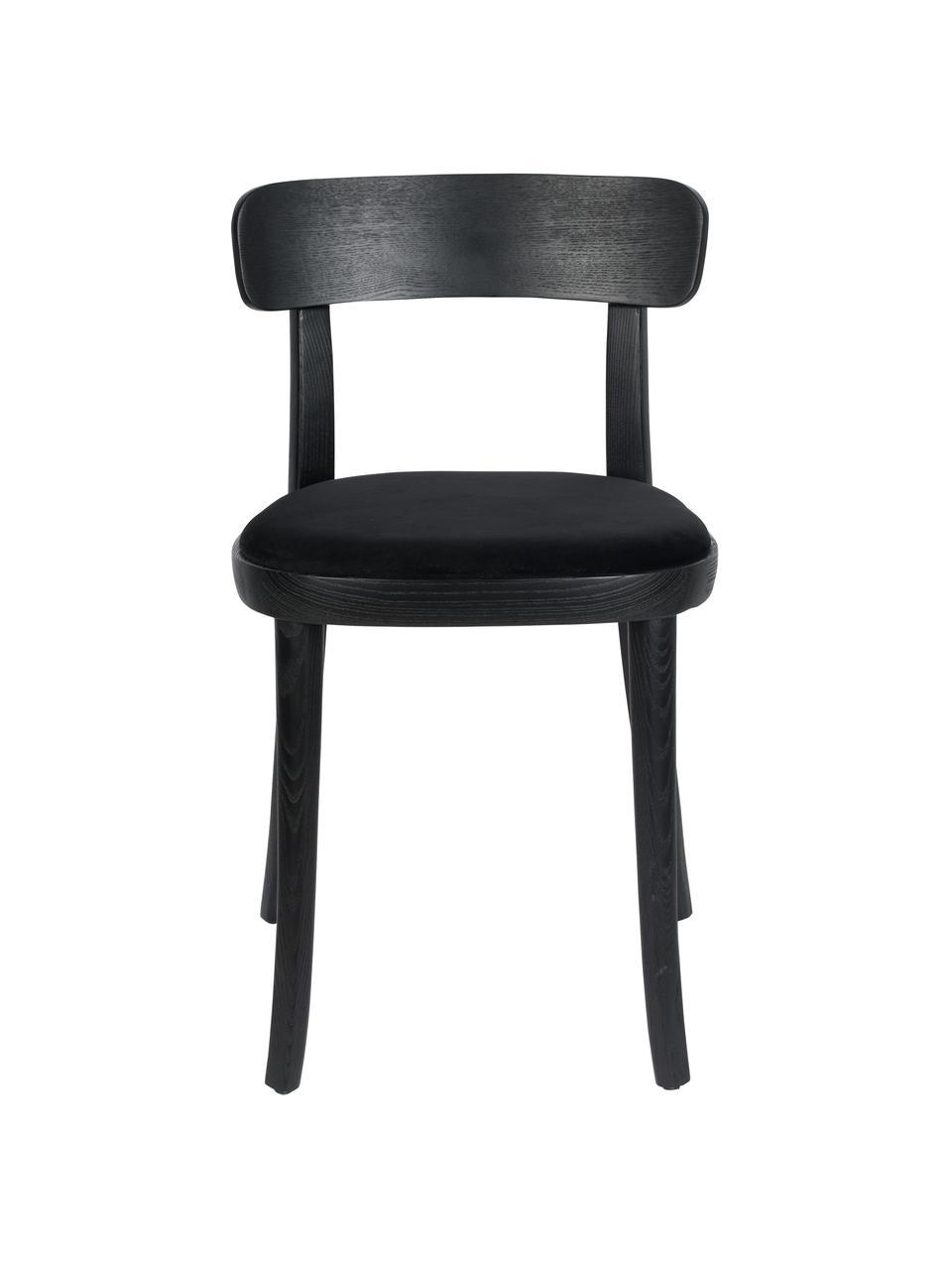 Holzstuhl Brandon mit Samt-Sitzfläche, Bezug: 100% Polyestersamt Der st, Rahmen: Eschenholz, massiv, lacki, Sitzfläche: Schichtholz, Schwarz, B 46 x T 45 cm