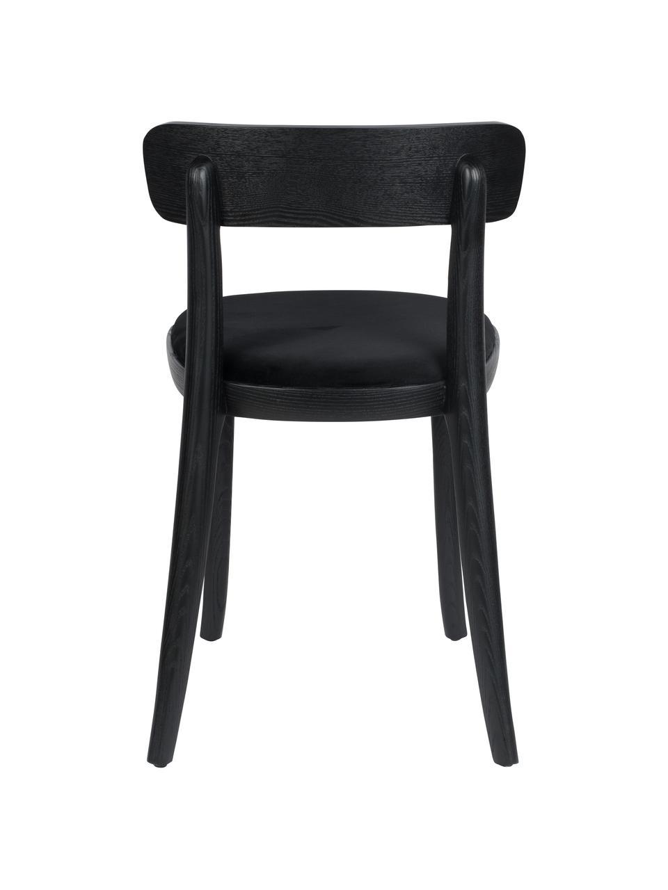 Krzesło z drewna i z siedziskiem z aksamitu Brandon, Tapicerka: 100% aksamit poliestrowy , Czarny, S 46 x G 45 cm