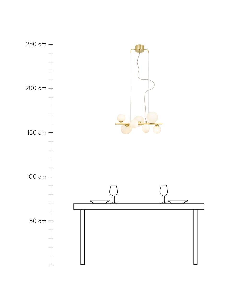 Pendelleuchte Molekyl aus Opalglas, Baldachin: Metall, beschichtet, Goldfarben, Weiß, 58 x 26 cm