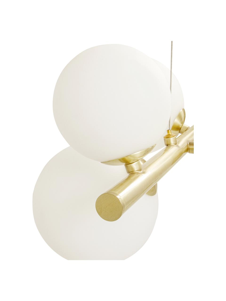 Lámpara de techo grande de vidrio opalino Molekyl, Estructura: metal recubierto, Anclaje: metal recubierto, Cable: plástico, Dorado, blanco, An 58 x Al 26 cm