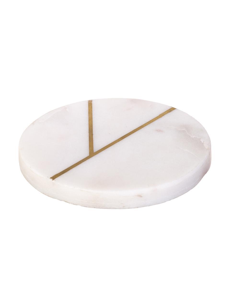 Marmor-Untersetzer Marek mit goldenen Details, 4 Stück, Marmor, Weiß marmoriert, Goldfarben, Ø 10 x H 1 cm