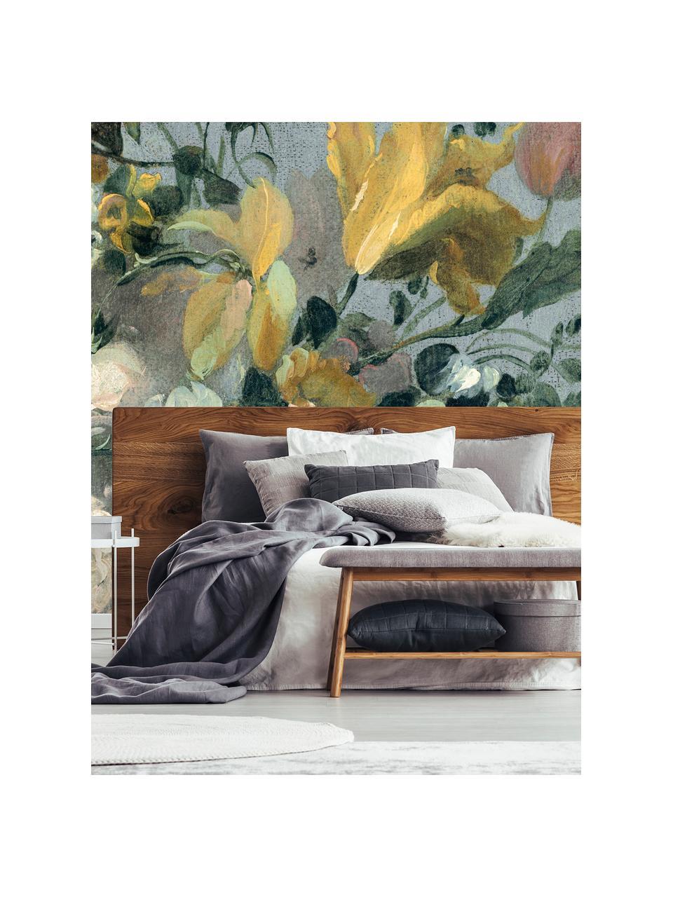 Adesivo murale Oil Painted Flowers Bright, Tessuto non tessuto, Multicolore, Larg. 372 x Alt. 280 cm