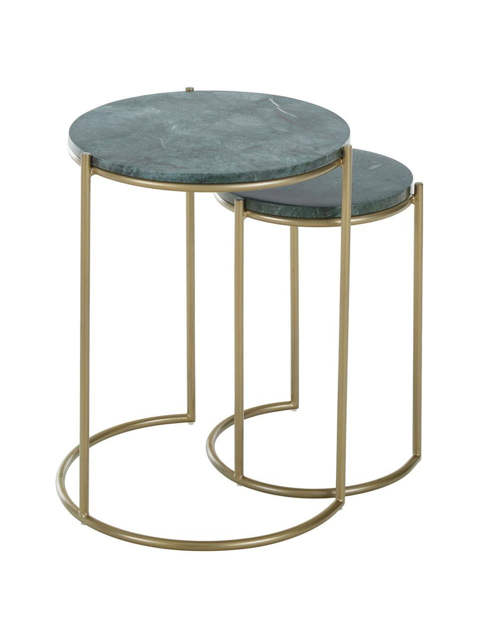 Komplet stolików pomocniczych z marmuru Ella, 2 elem., Zielony marmur, odcienie złotego, Komplet z różnymi rozmiarami