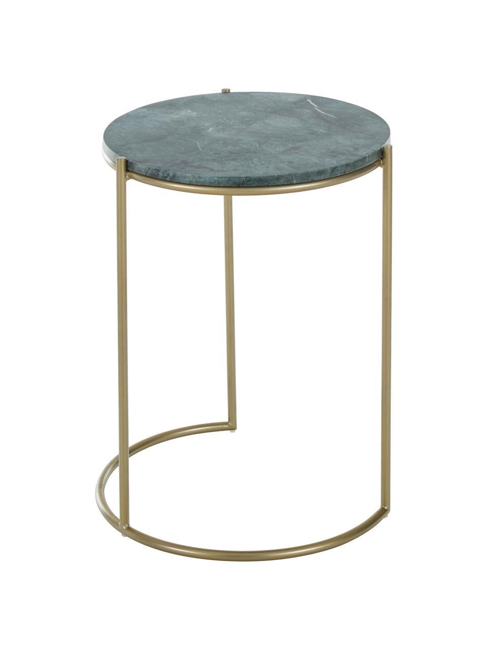 Marmeren bijzettafelset Ella, 2-delig, Frame: gepoedercoat metaal, Tafelbladen: groen marmer. Frame: mat goudkleurig, Set met verschillende formaten