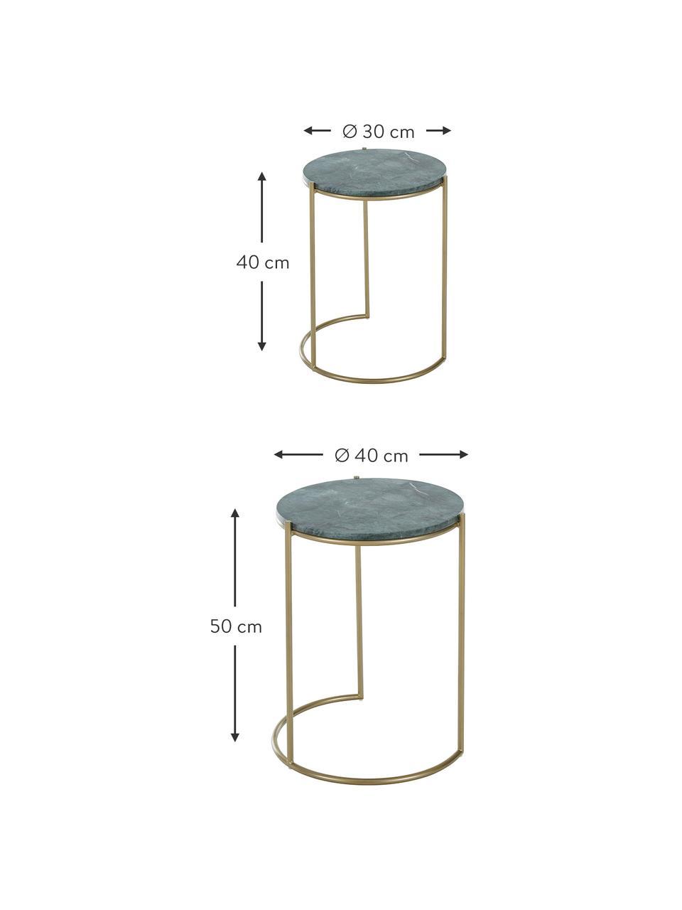 Marmor-Beistelltisch-Set Ella, 2-tlg., Grüner Marmor, Goldfarben, Sondergrößen