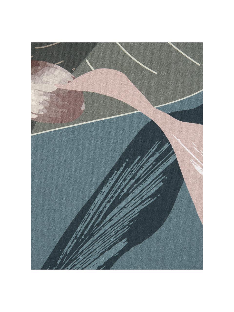 Baumwollsatin-Kopfkissenbezüge Flora in Potral, 2 Stück, Webart: Satin Fadendichte 210 TC,, Vorderseite: MehrfarbigRückseite: Petrol, 40 x 80 cm