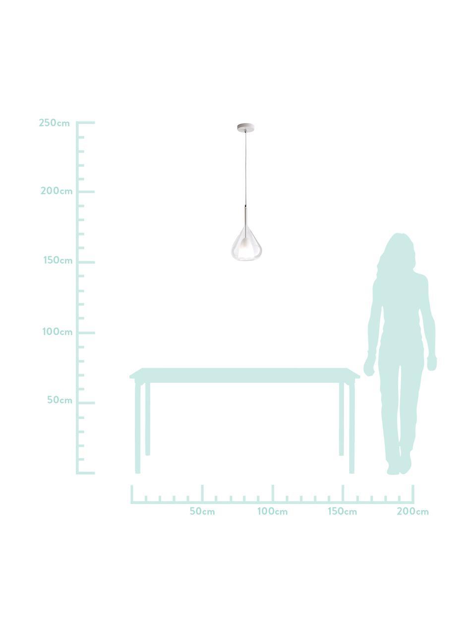 Lampada a sospensione in vetro Lila, Paralume: vetro, Baldacchino: metallo rivestito, Trasparente, Ø 20 x Alt. 35 cm