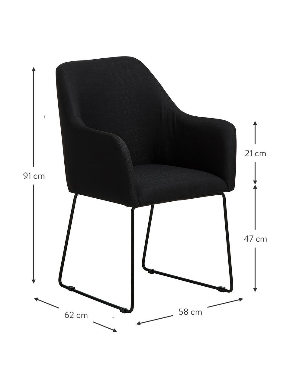 Židle spodručkami Isla, Černá Nohy: černá