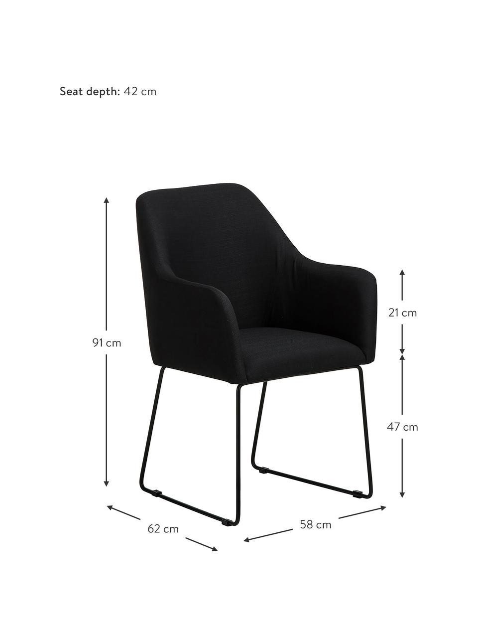 Sedia con braccioli in tessuto nero Isla, Rivestimento: poliestere Con 50.000 cic, Gambe: metallo verniciato a polv, Tessuto nero, nero, Larg. 58 x Prof. 62 cm