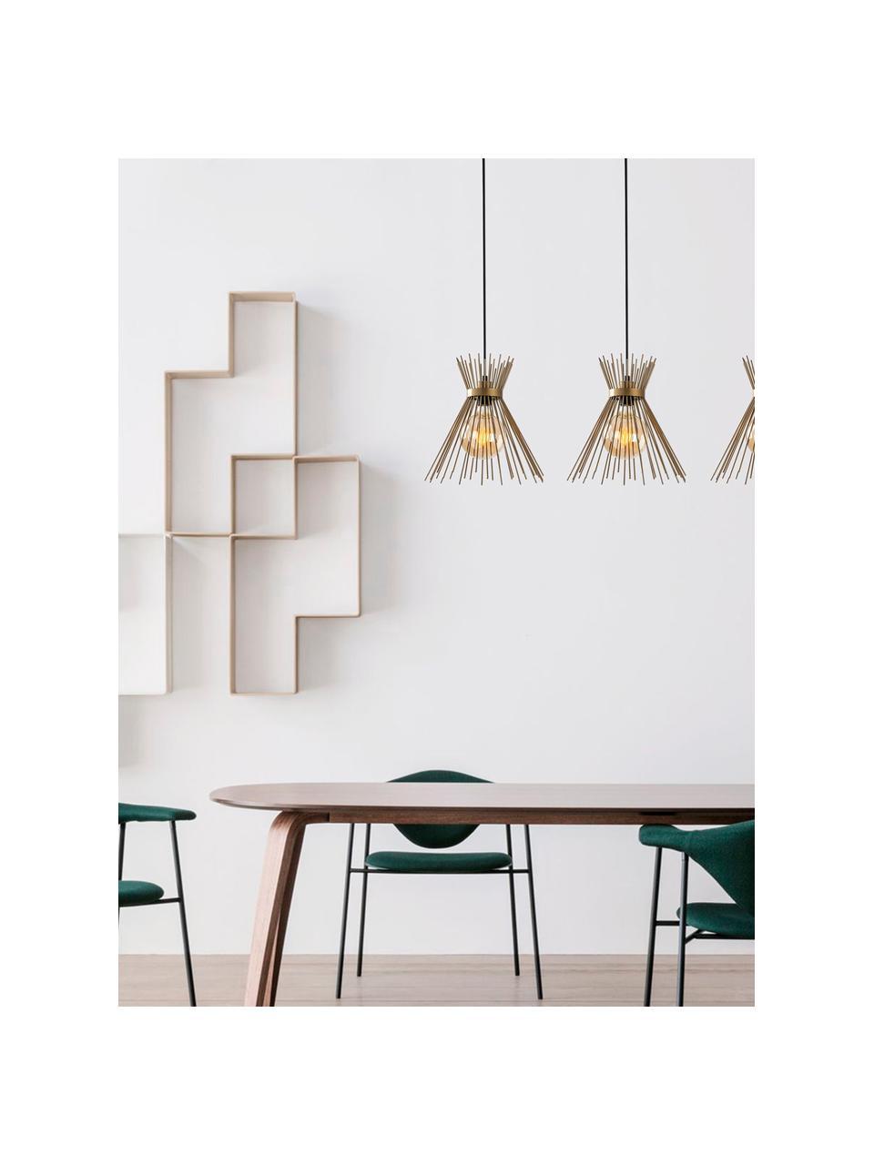 Große Design Pendelleuchte Kirpi in Messing, Baldachin: Metall, beschichtet, Messingfarben, Schwarz, B 104 x T 30 cm