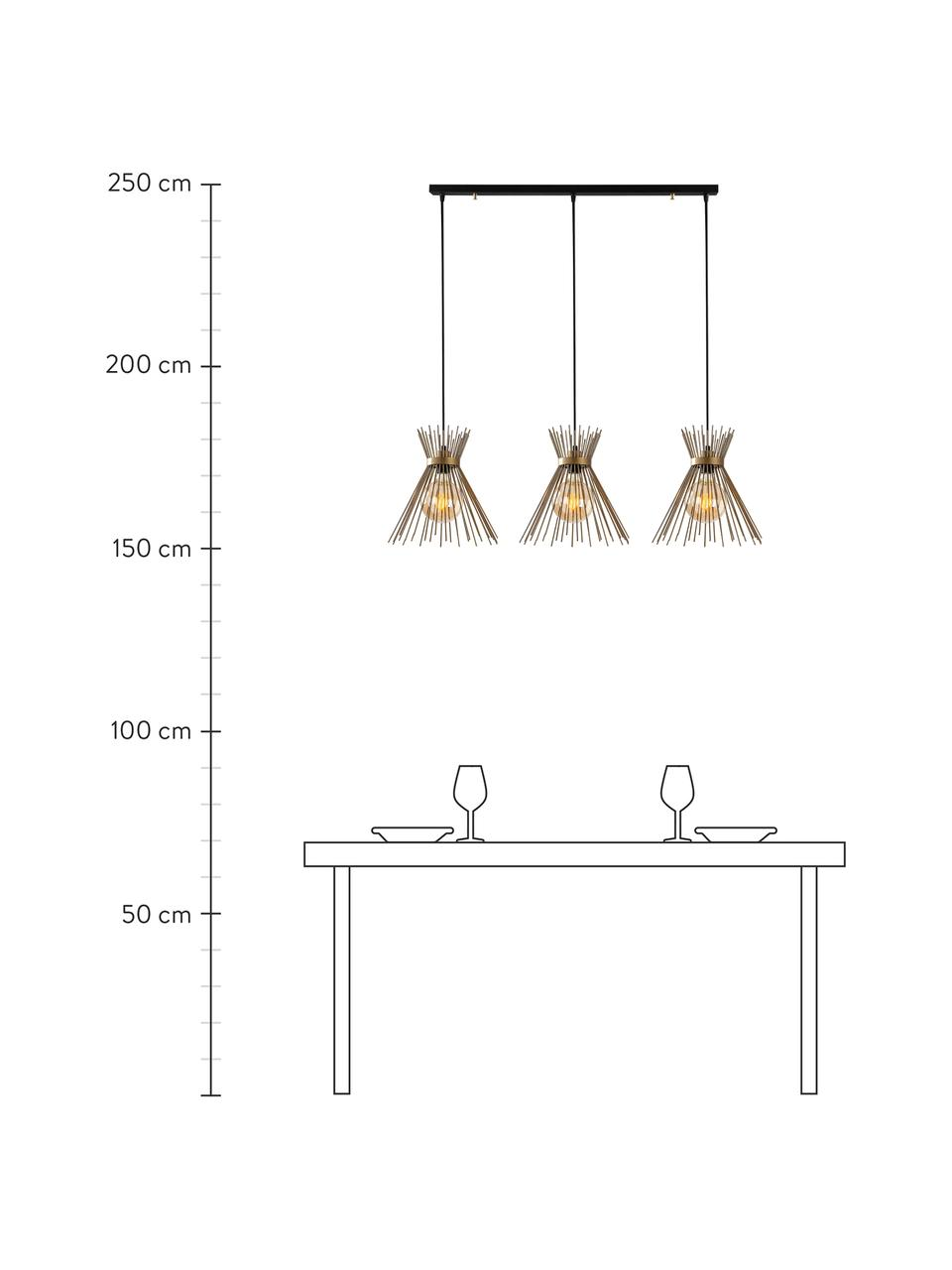Lampa wisząca Kirpi, Odcienie mosiądzu, czarny, S 104 x G 30 cm