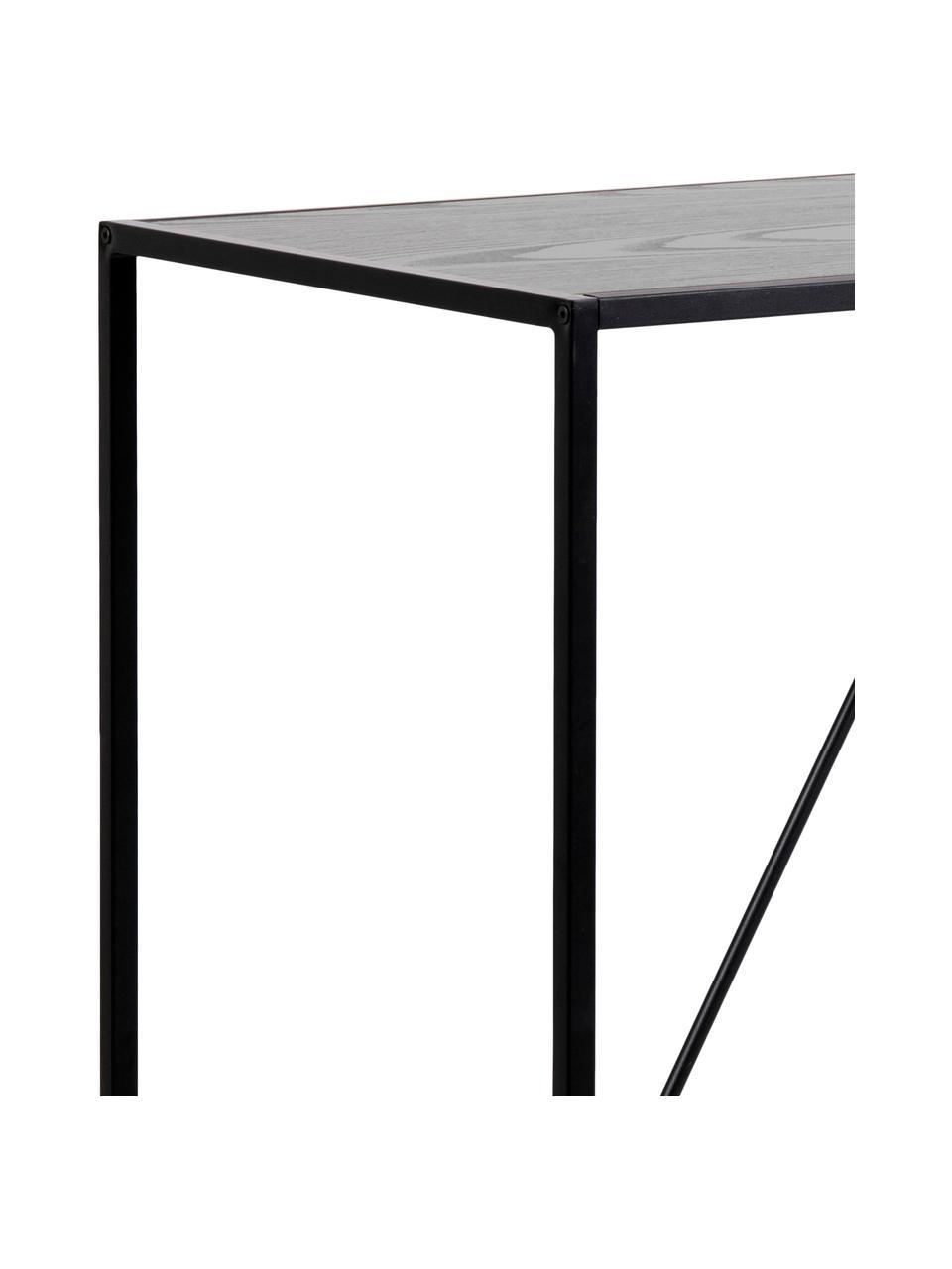 Bartisch Seaford, 120 x 60 cm, Metall, pulverbeschichtet, Melamin, Eschenholz, Schwarz, B 120 x T 60 cm