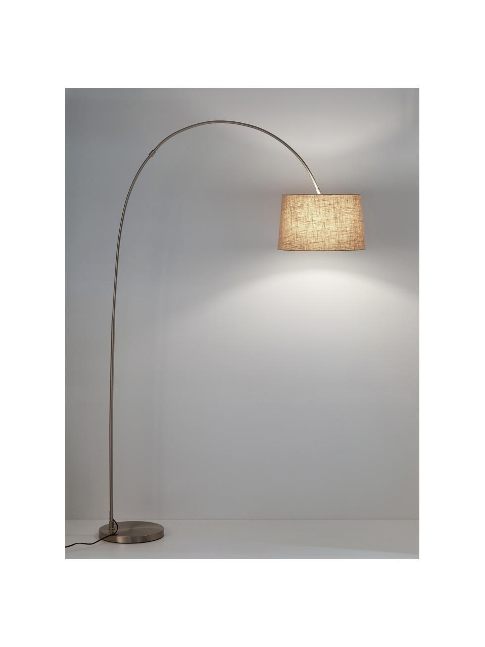 Bogenlampe Laurence mit Baumwollschirm, Lampenschirm: Baumwollgemisch, Lampenfuß: Metall, gebürstet, Beige,Silberfarben, Ø 40 x H 188 cm