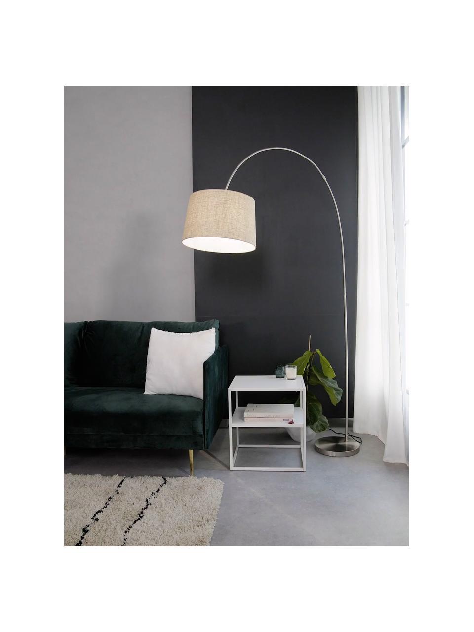Grote booglamp Laurence in beige, Lampenkap: katoenmix, Lampvoet: geborsteld metaal, Beige, zilverkleurig, Ø 40 x H 188 cm