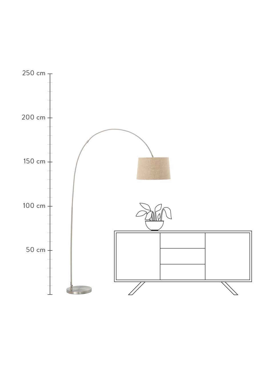 Booglamp Laurence met katoenen kap, Lampenkap: katoenmix, Lampvoet: geborsteld metaal, Beige, zilverkleurig, Ø 40 x H 188 cm