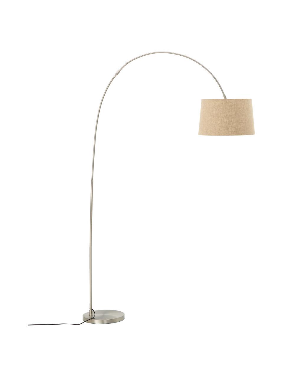 Lampada da terra ad arco con paralume in cotone Laurence, Paralume: miscela di cotone, Base della lampada: metallo spazzolato, Beige, argentato, Ø 40 x Alt. 188 cm
