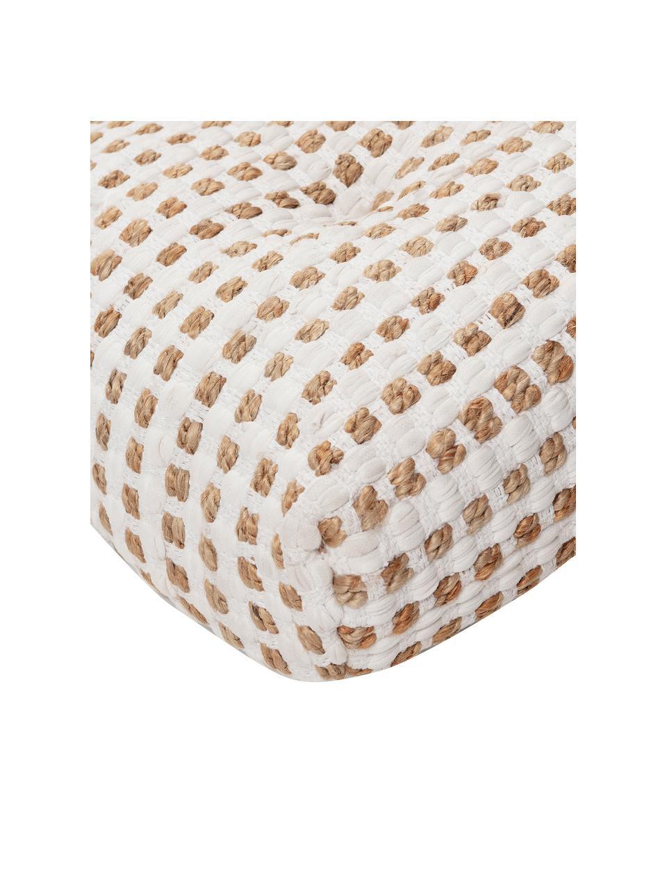Cuscino da pavimento boho in cotone/juta Fiesta, Rivestimento: 55% cotone chindi, 45% ju, Bianco, beige, Larg. 120 x Alt. 13 cm