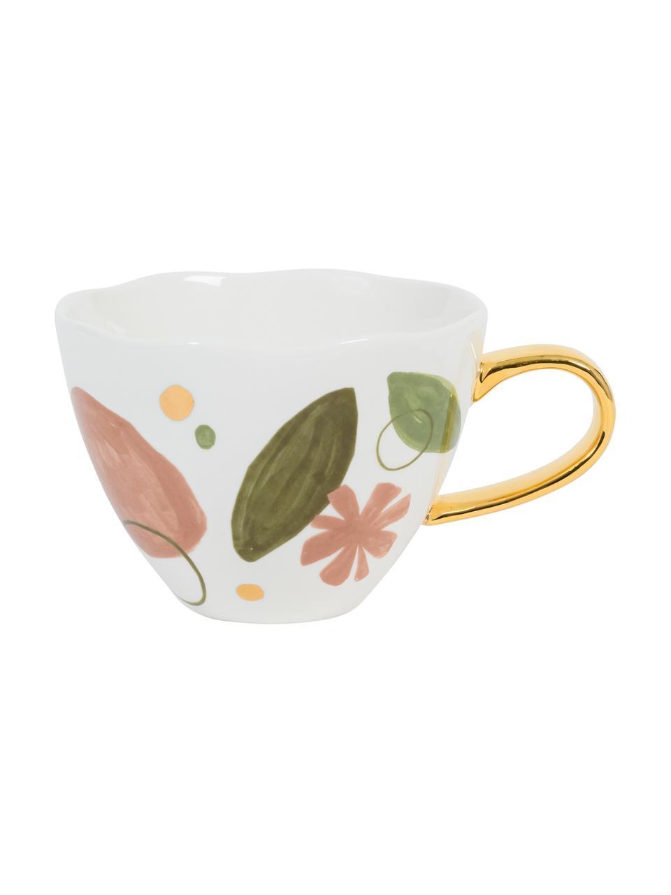Tasse Good Morning, bunt bemalt mit goldfarbenem Griff, New Bone China, Weiß, Rosa, Grün, Goldfarben, Ø 11 x H 9 cm