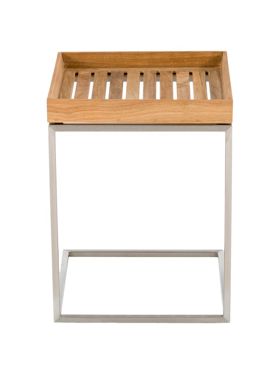 Stolik balkonowy z tacą z drewna tekowego Pizzo, Blat: masywne drewno tekowe, ol, Stelaż: stal szlachetna , piaskow, Drewno tekowe, stal szlachetna, S 40 x H 52 cm
