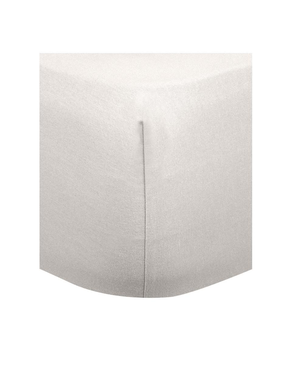 Flanellen hoeslaken Biba in beige, Weeftechniek: flanel, Beige, 180 x 200 cm