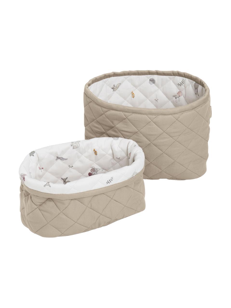 Aufbewahrungskörbe-Set Fawn aus Bio-Baumwolle, 2-tlg., Bezug: 100% Biobaumwolle, Öko-Te, Weiß, Braun, Beige, Sondergrößen
