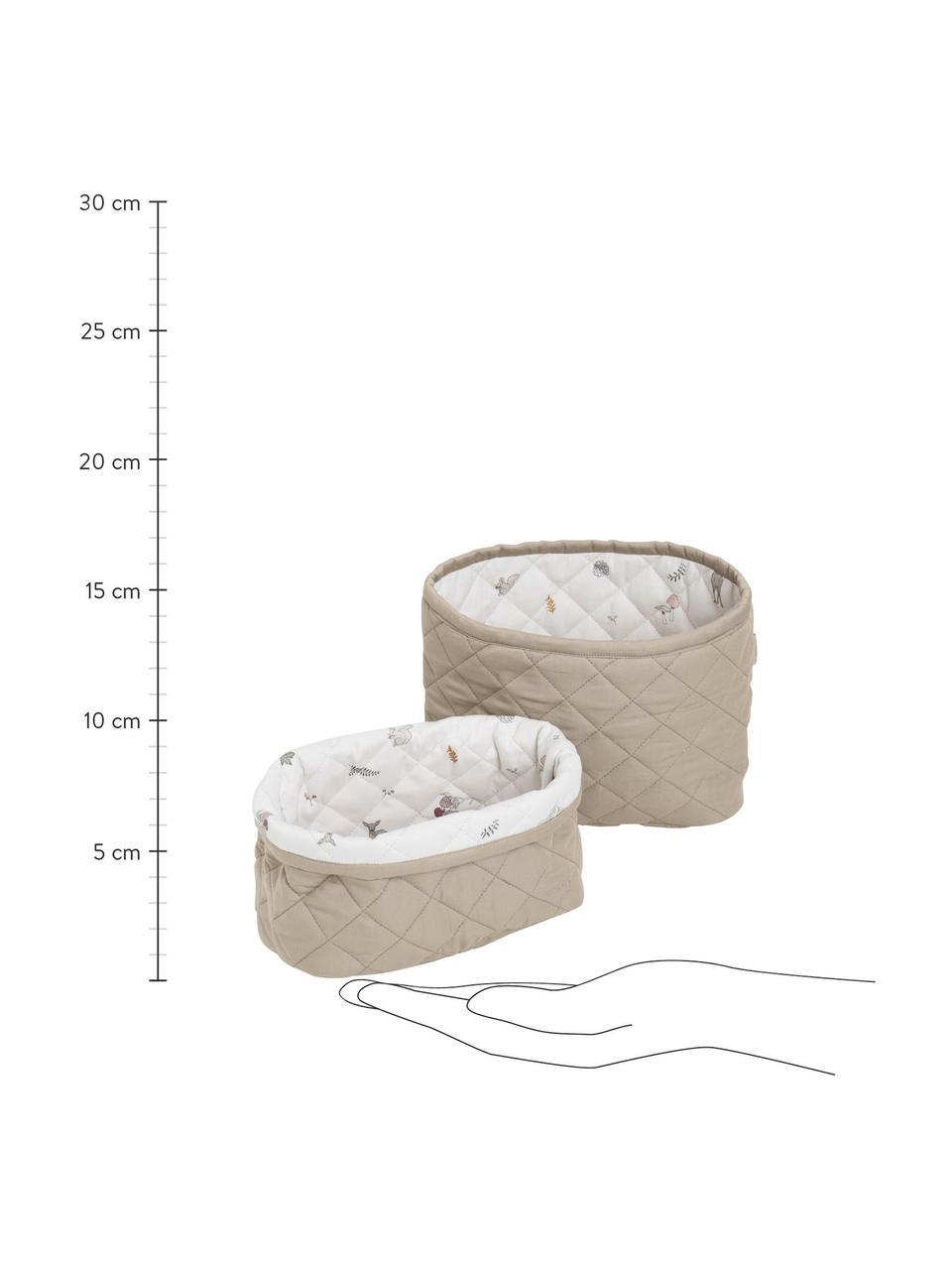 Komplet koszy do przechowywania  z bawełny organicznej Fawn, 2 elem., Tapicerka: bawełna organiczna, Biały, brązowy, beżowy, Komplet z różnymi rozmiarami