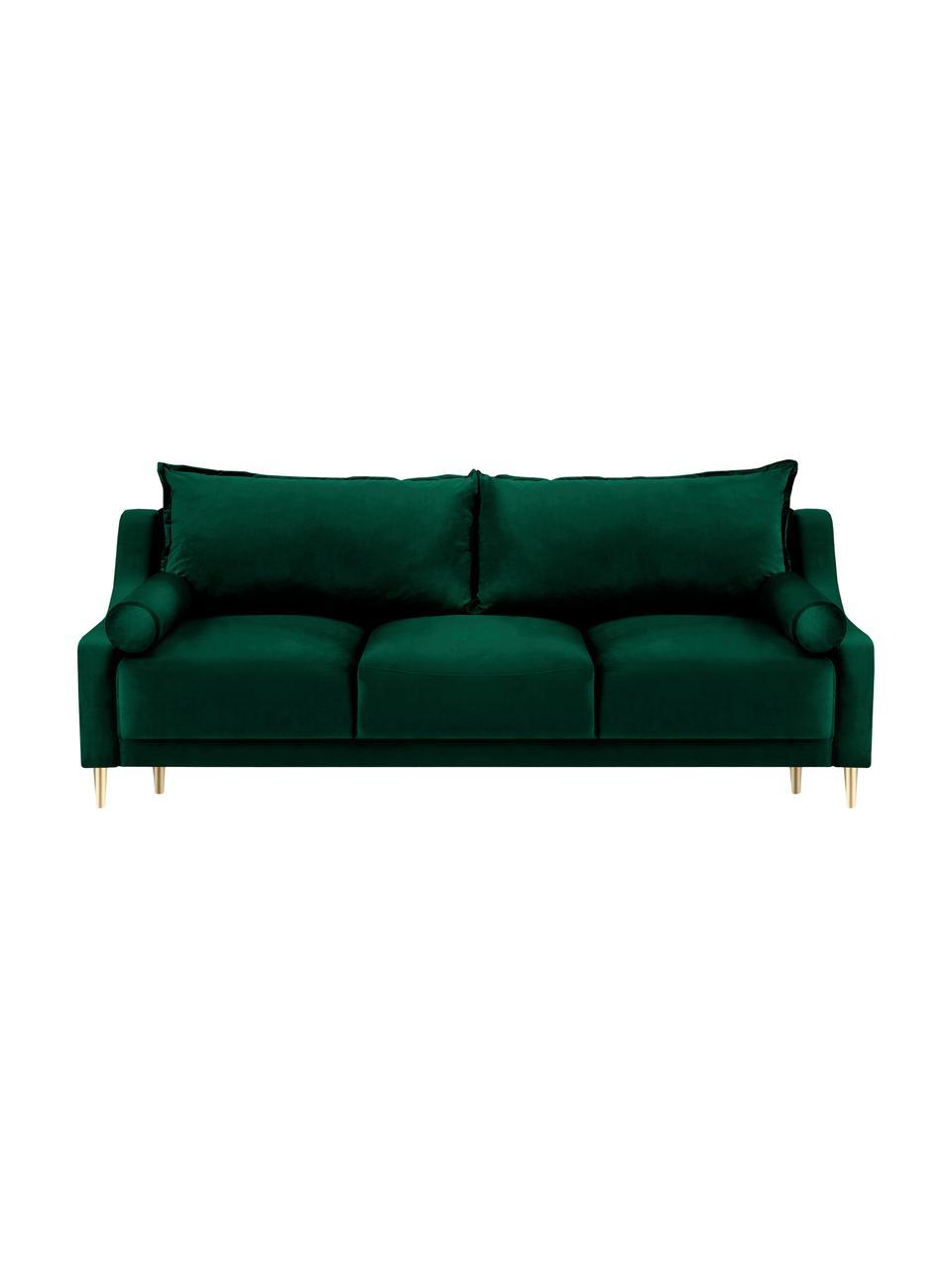 Sofa z aksamitu z funkcją spania i miejscem do przechowywania Lea (3-osobowa), Tapicerka: aksamit poliestrowy Dzięk, Nogi: metal malowany proszkowo, Butelkowy zielony, S 215 x G 94 cm